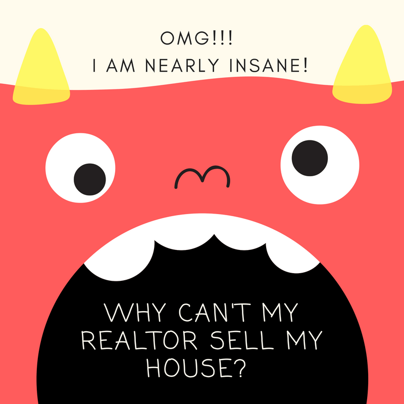 Cartoon monster asking Why Can't My Realtor Sell My House