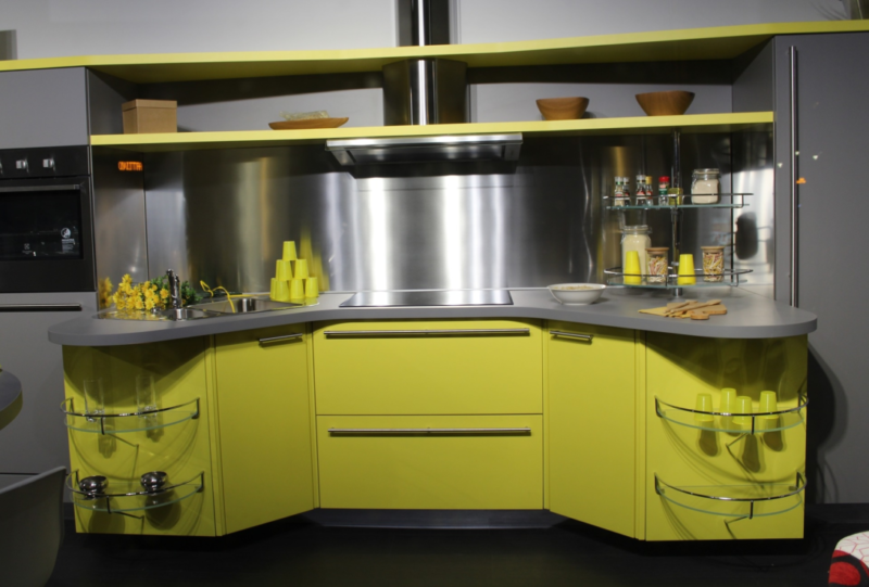 Modern kitchen with chartreuse cabinetry